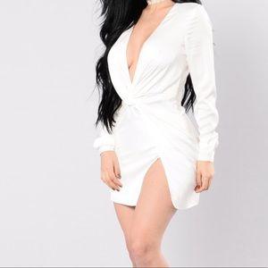 Mini white satin front slit dress